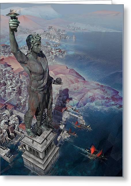 wonders the Colossus of Rhodes Greeting Card by Te Hu
