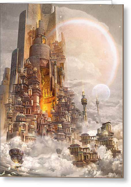 Greeting Card featuring the digital art Wonders Tower Of Babylon by Te Hu