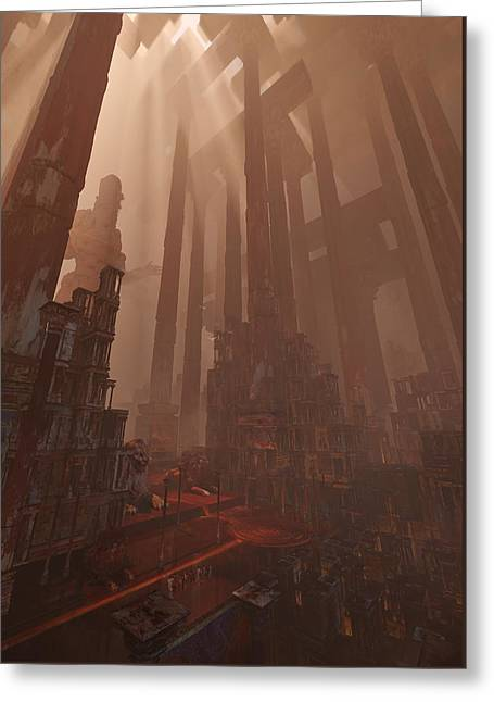 Greeting Card featuring the digital art Wonders_temple Of Artmeis by Te Hu