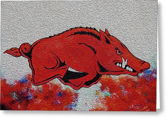 Woo Pig Sooie 2 Greeting Card by Belinda Nagy