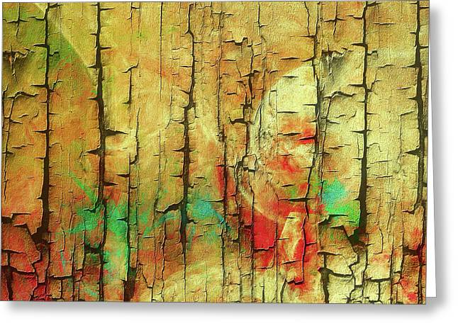 Greeting Card featuring the digital art Wood Abstract by Deborah Benoit