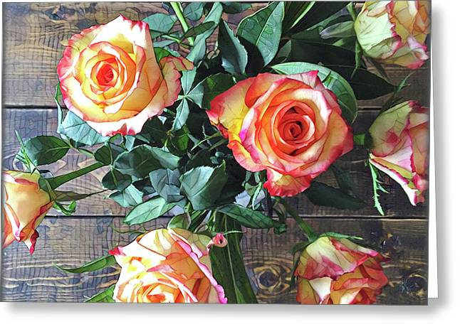 Wood And Roses Greeting Card by Shadia Derbyshire