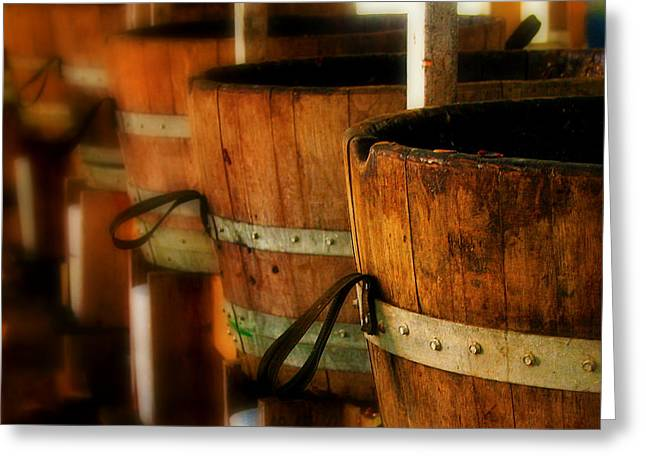Wood Barrels Greeting Card by Perry Webster