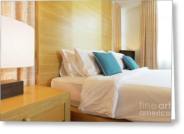 Wood Bed Greeting Card by Atiketta Sangasaeng