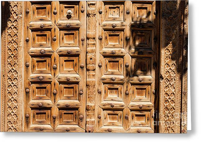 Wood Carved Doors Greeting Card by Bob Phillips