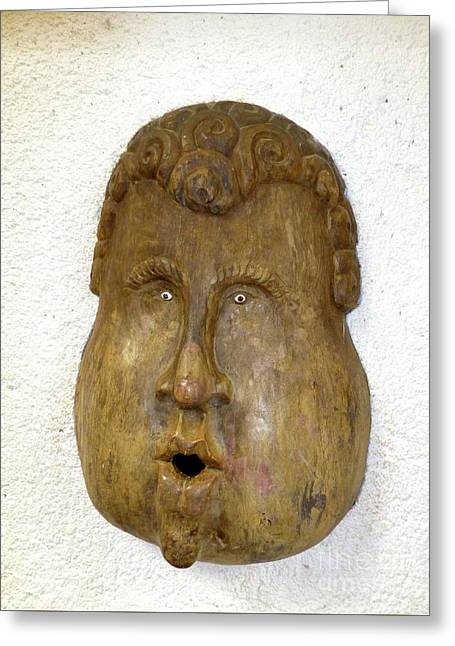 Greeting Card featuring the photograph Wood Carved Face by Francesca Mackenney