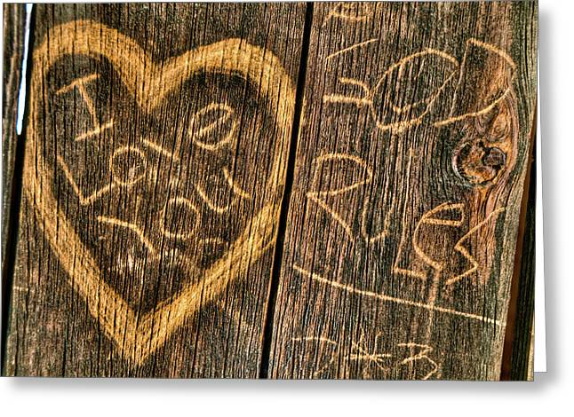 Wood Carving Graffiti Greeting Card by Connie Cooper-Edwards
