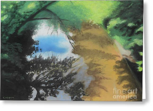 Greeting Card featuring the painting Wood Creek Shadows And Reflections by Robert Coppen