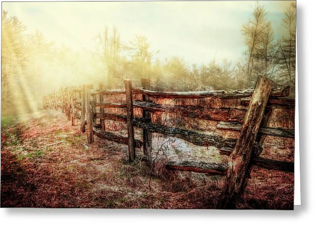 Wood Fences In The Fog Greeting Card