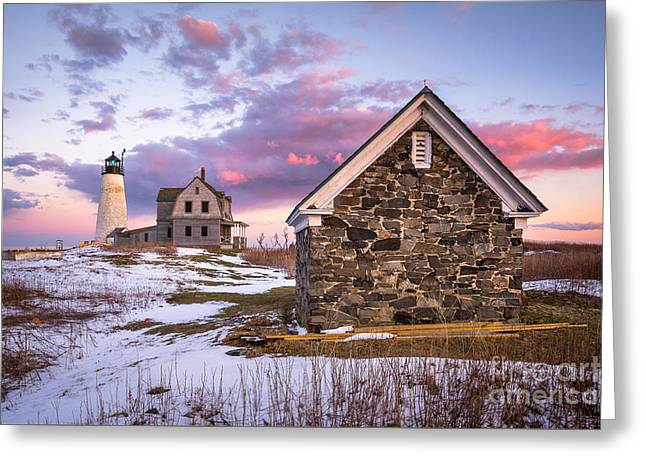 Wood Island Lighthouse In Winter Greeting Card