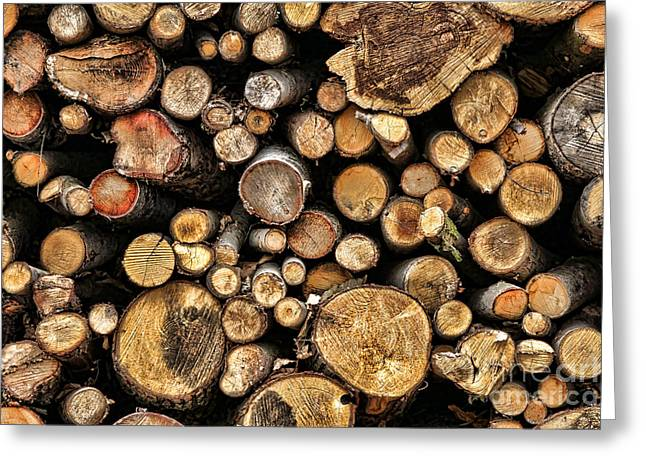 Wood Log Stack Number 144 Greeting Card by Olivier Le Queinec