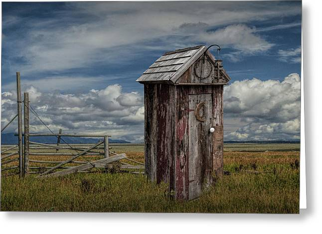 Wood Outhouse Out West Greeting Card by Randall Nyhof