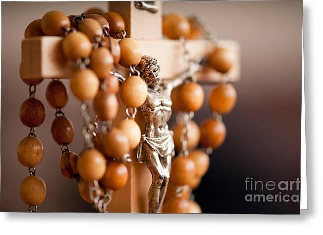 Wood Rosary And Jesus Figurine Greeting Card