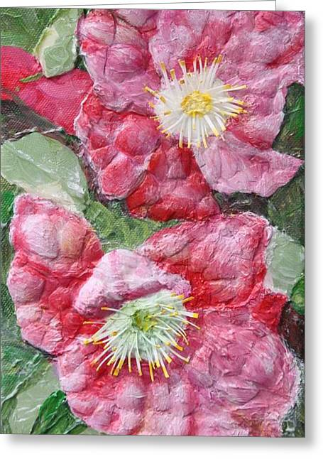 Greeting Card featuring the painting Wood Roses by Terri Thompson