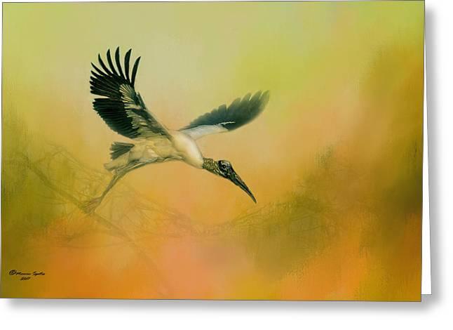Wood Stork Encounter Greeting Card