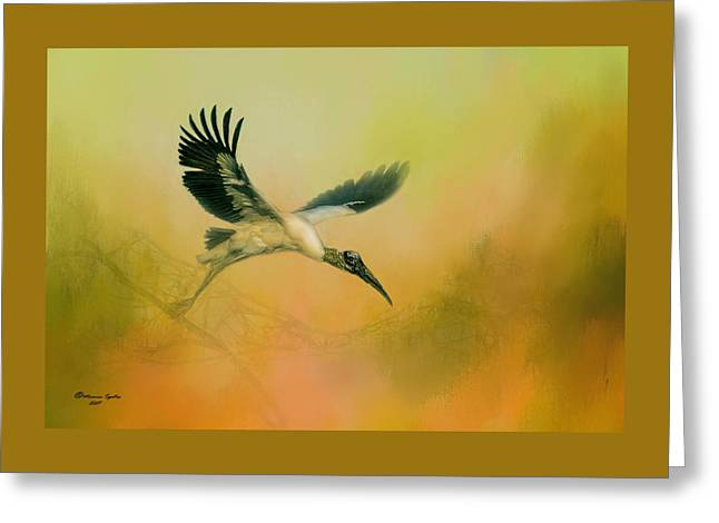 Wood Stork Encounter Greeting Card by Marvin Spates
