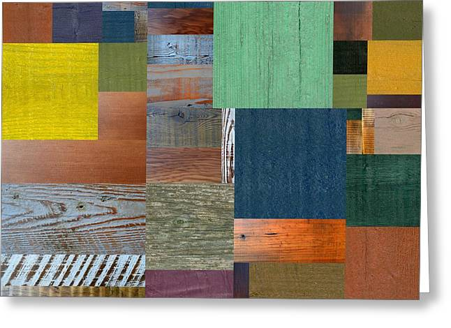 Greeting Card featuring the digital art Wood With Teal And Yellow by Michelle Calkins