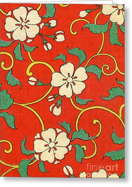 Woodblock Print Of Apple Blossoms Greeting Card