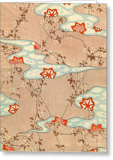 Woodblock Print Of Fall Leaves Greeting Card by Japanese School