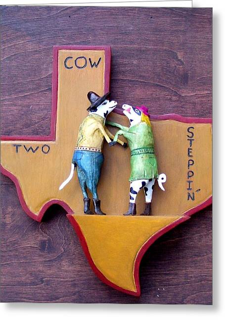 Woodcrafted 2 Cow Steppin' Greeting Card by Michael Pasko