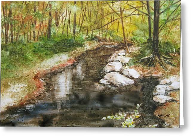 Wooded Creek Greeting Card by Marsha Elliott