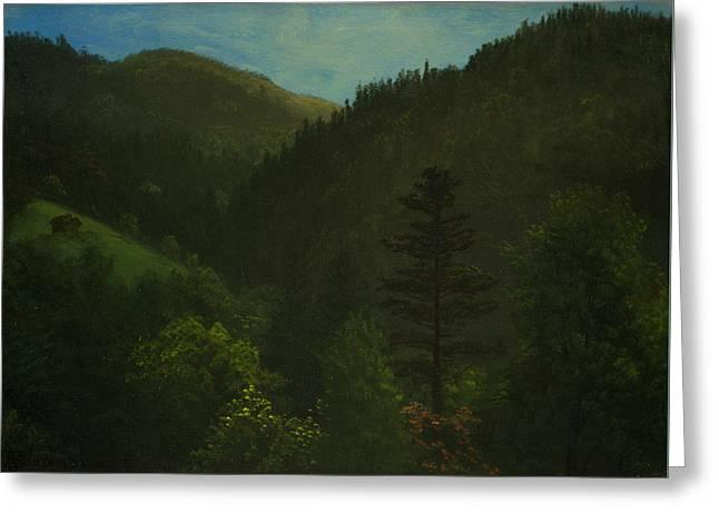 Wooded Landscape Greeting Card by Albert Bierstadt