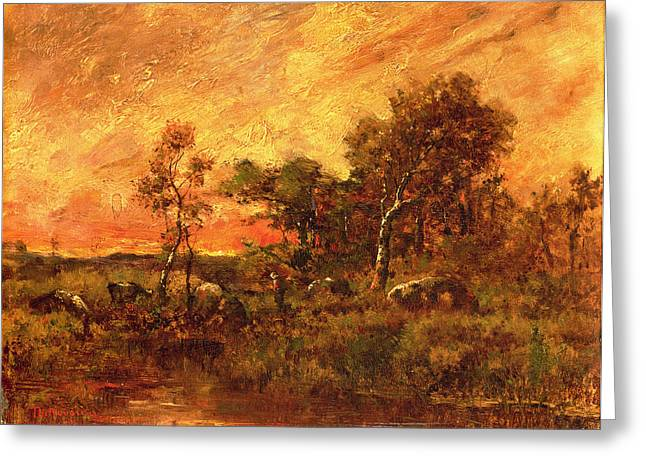 Wooded Landscape With A Faggot Gatherer Greeting Card by Pierre Etienne Theodore Rousseau