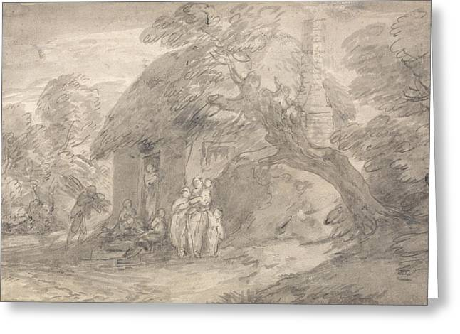 Wooded Landscape With Figures Outside A Cottage Door Greeting Card by Thomas Gainsborough