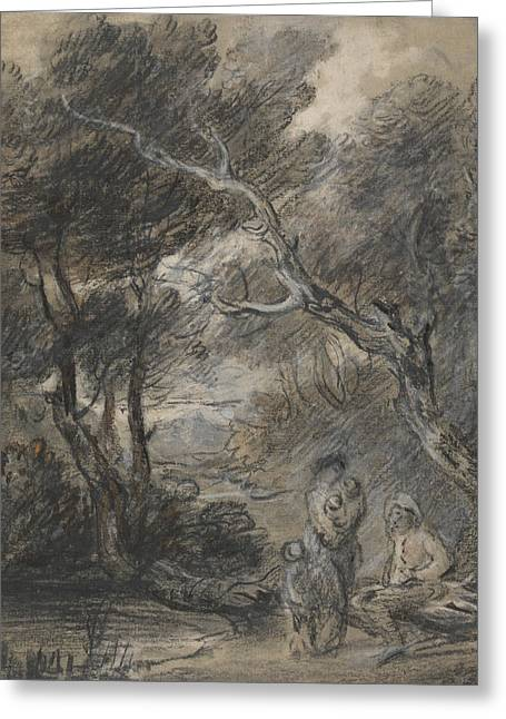 Wooded Landscape With Figures  Greeting Card by Thomas Gainsborough