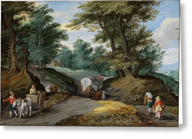 Wooded Landscape With Horses Carts And To The Market Attracting Farmers Greeting Card