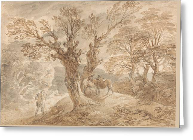 Wooded Landscape With Peasant And Donkeys Greeting Card by Thomas Gainsborough
