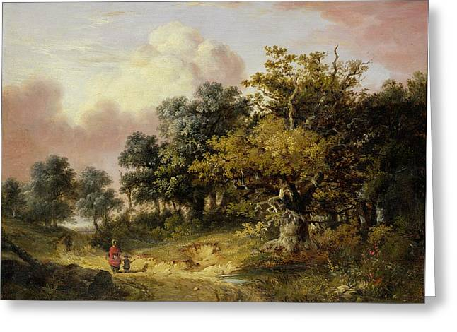 Wooded Landscape With Woman And Child Walking Down A Road  Greeting Card by Robert Ladbrooke