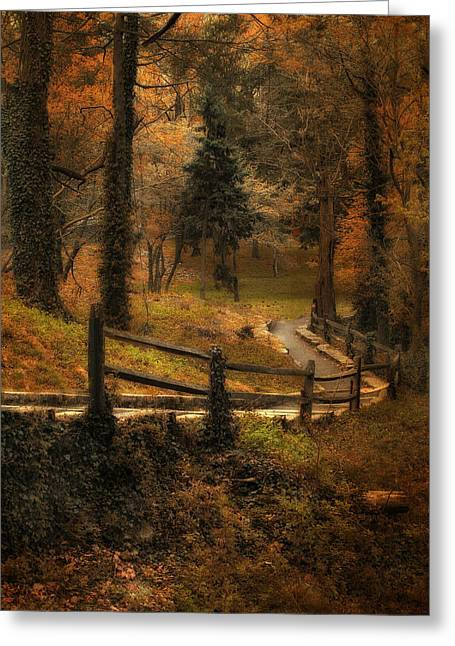 Woods Digital Art Greeting Cards - Wooded Path Greeting Card by Jessica Jenney