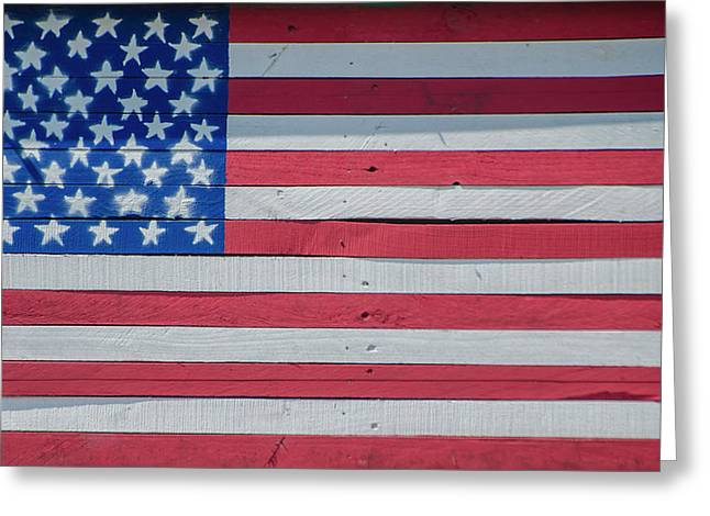 Wooden American Flag Greeting Card by Bill Cannon