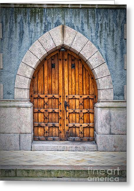 Wooden Archway Doors Greeting Card