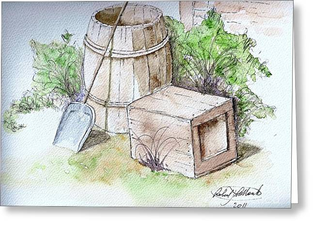 Wooden Barrel And Crate Greeting Card