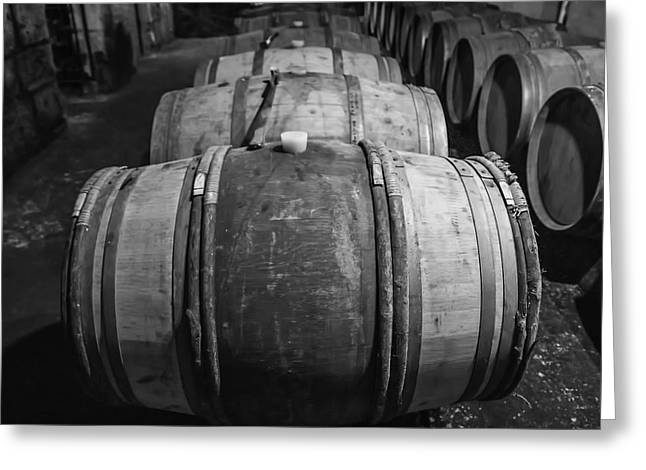Wooden Barrels In A Wine Cellar Greeting Card by Georgia Fowler