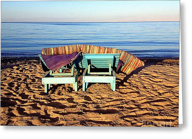 Wooden Beach Chairs Greeting Card by Noa Yerushalmi