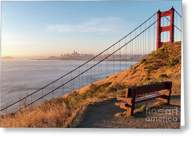 Wooden Bench Overlooking Downtown San Francisco With The Golden  Greeting Card