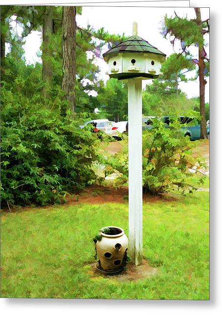 Wooden Bird House On A Pole 6 Greeting Card by Lanjee Chee