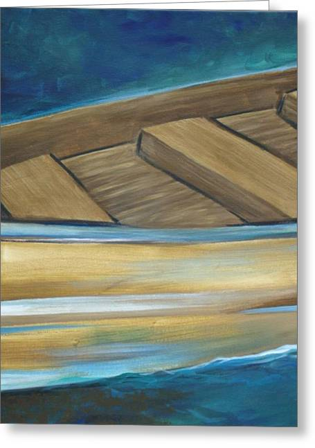 Wooden Boat Greeting Card by Amie  La Voie-Moore
