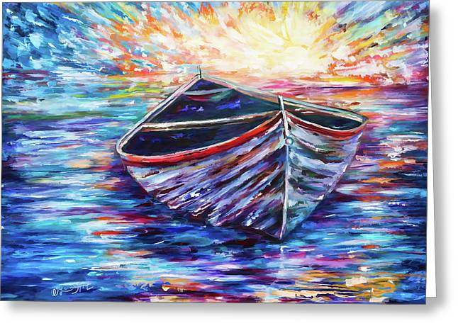 Wooden Boat At Sunrise - 2 Greeting Card by Art OLena