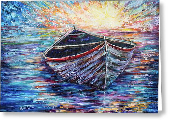 Wooden Boat At Sunrise  Greeting Card by Art OLena