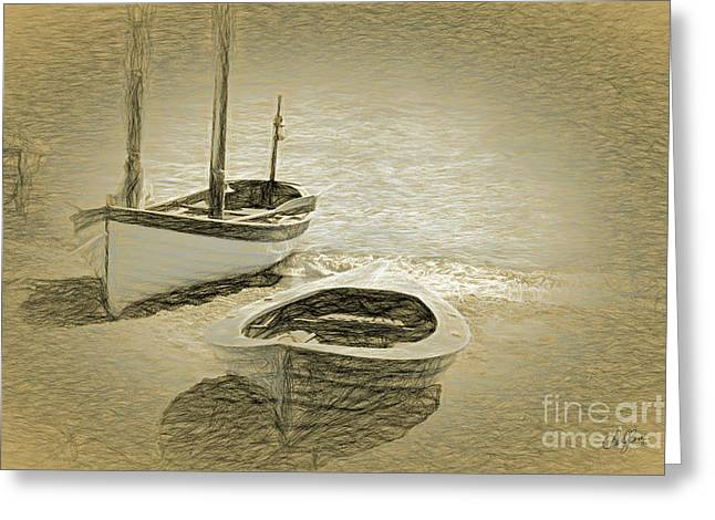 Wooden Boats On The Shore Greeting Card by Cheryl Rose