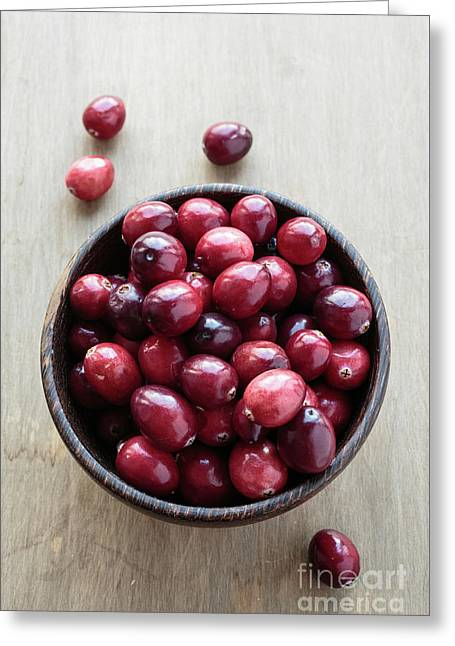 Wooden Bowl Of Ripe Red Cranberries Greeting Card