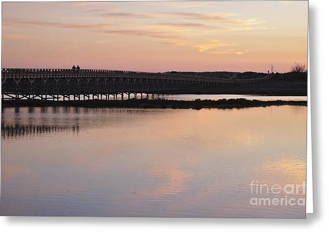 Wooden Bridge And Twilight Greeting Card