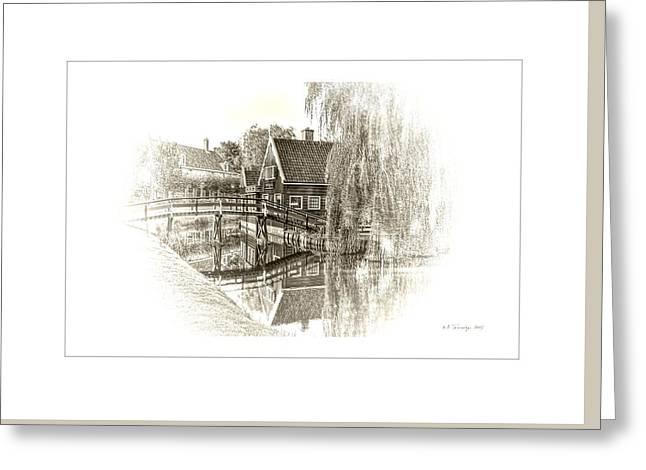 Wooden Bridge Greeting Card by Maciek Froncisz
