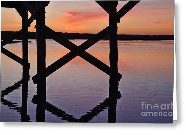 Wooden Bridge Silhouette At Dusk Greeting Card by Angelo DeVal
