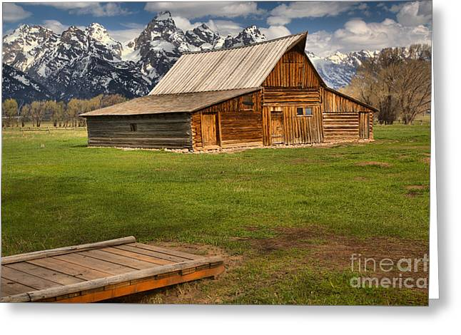 Wooden Bridge To The Wooden Barn Greeting Card by Adam Jewell