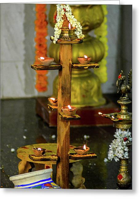 Wooden Candle Stand Greeting Card by Srinivas Rao